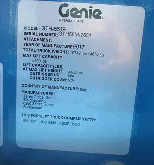 2017 Genie GTH-5519-14