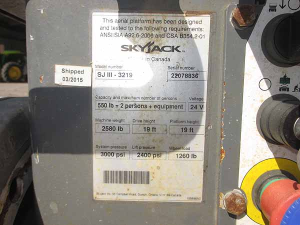 2015 SKYJACK SJIII3219-7