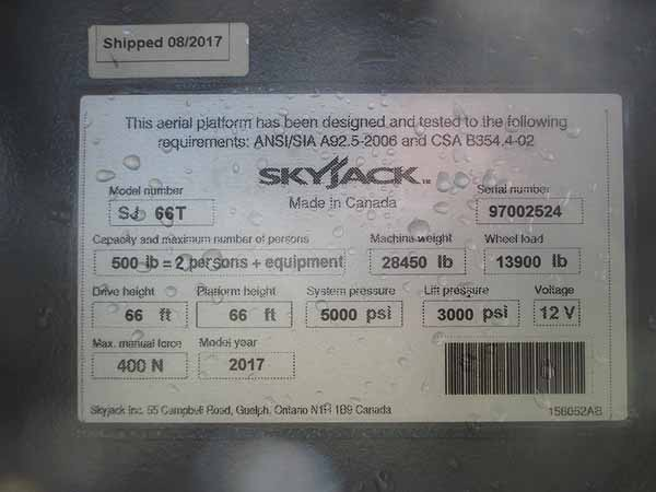 2017 SkyJack 66T-13