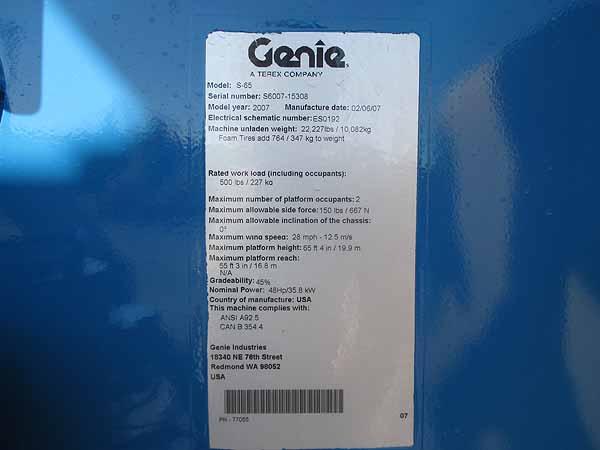 2007 Genie S65-11