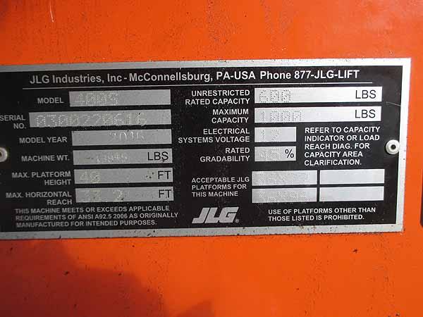 2016 JLG 400S-11
