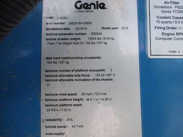 2015 Genie Z45/25JRT-12