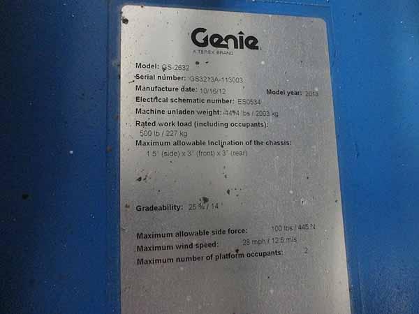 2013 Genie GS2632-9