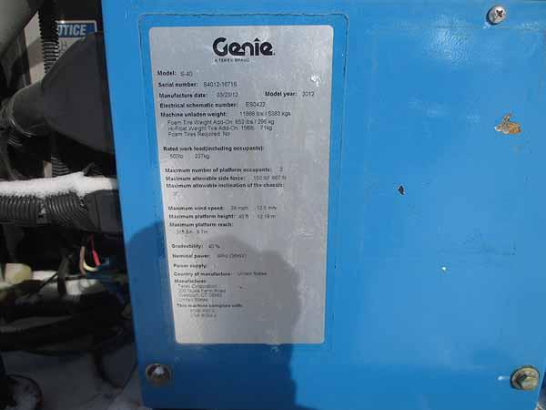 2012 Genie S40-12