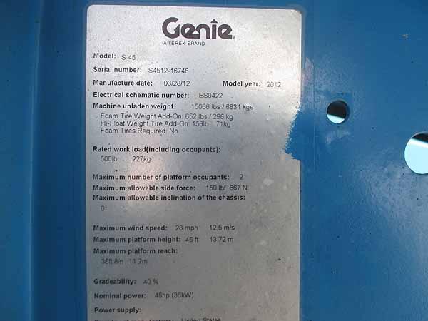 2012 Genie S45-11