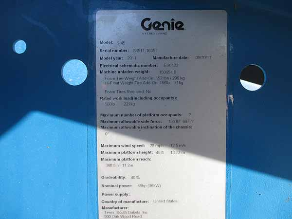 2011 Genie S45-11