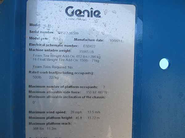 2012 Genie S45-12